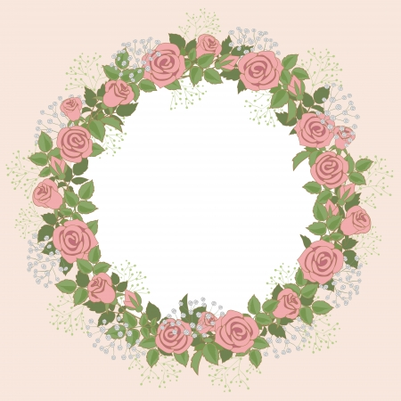 Floral wreath of pink roses for wedding invitations and greeting cards