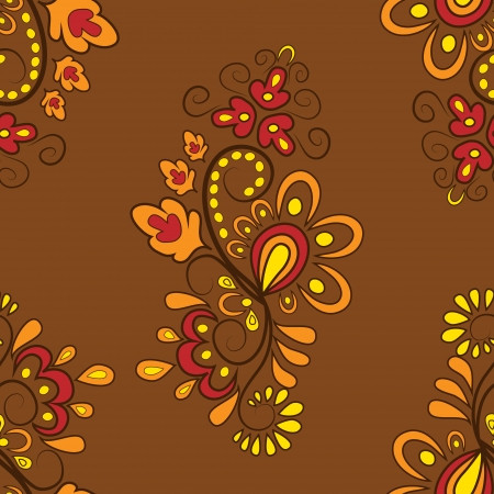 Seamless pattern with curls and floral motifs in autumn colors Vector