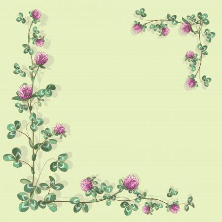 Foliate border with clover. Vector