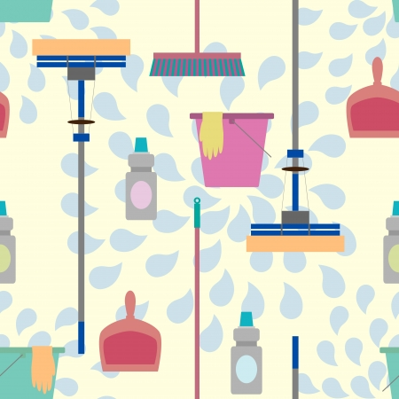 besom: Seamless pattern with domestic tools for cleaning.