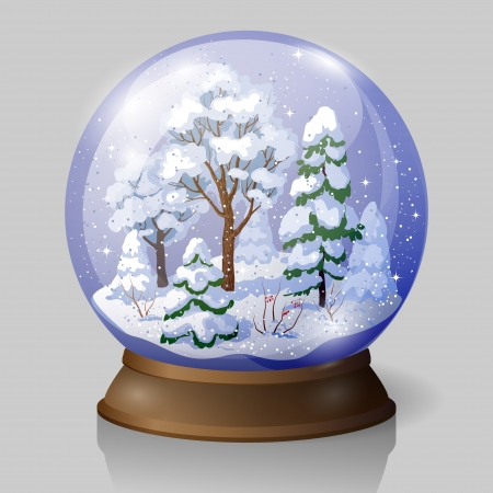 Snow globe with  falling snow  and winter forest inside. Illustration