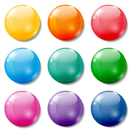 Set of glossy colored buttons on white background.