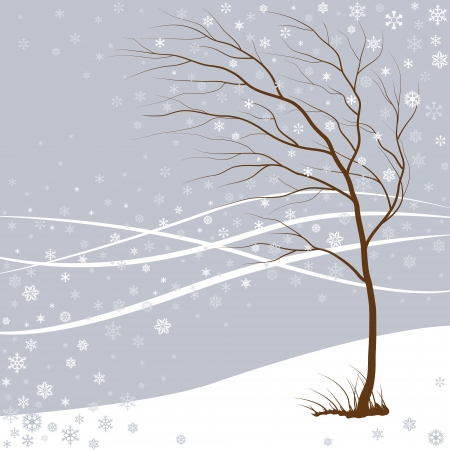 Tree and falling snowflakes on the wind.