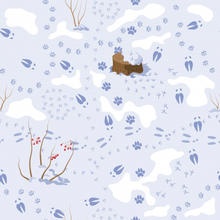 Seamless pattern with tracks of animals and birds in the snow.  Vector