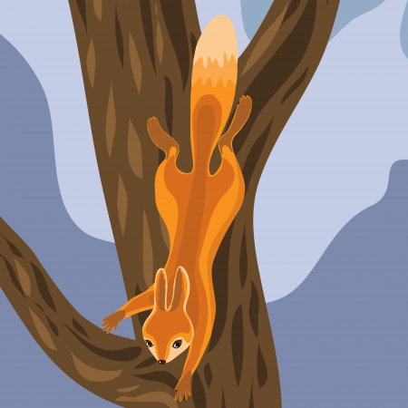 Red Squirrel jumps on tree.