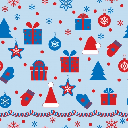 Seamless texture with holiday attributes on azure background. Vector