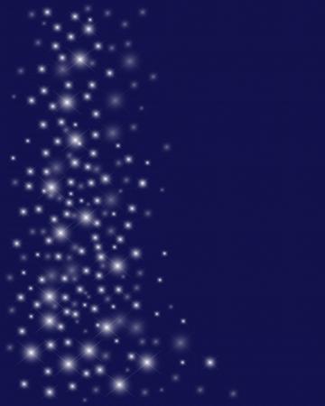 Shiny starry lights on blue background.  Illustration
