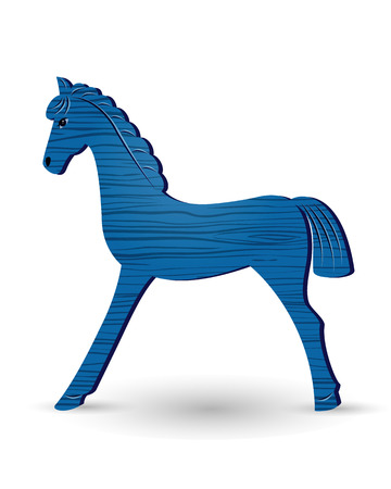 year of horse: Blue wooden foal isolated on white background. Illustration