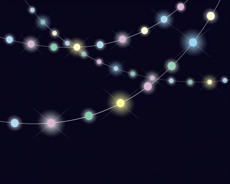 blinking: Guirnaldas chispeantes en fondo oscuro.