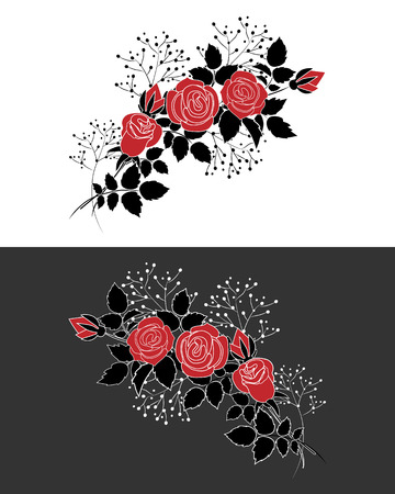 Two bunches of red roses on grey and white background. Illustration