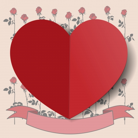 Paper heart on background of picture with red painted roses and ribbon for text. Vector