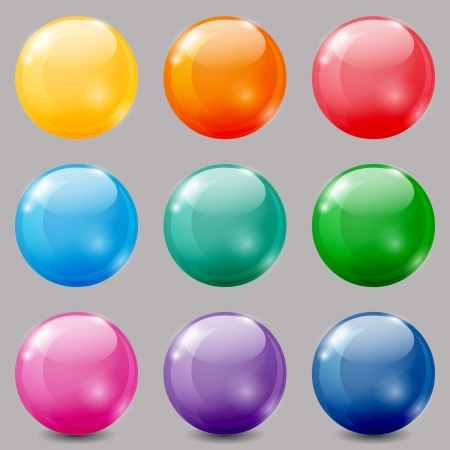 Set of glossy colored balls on grey background. Ilustrace