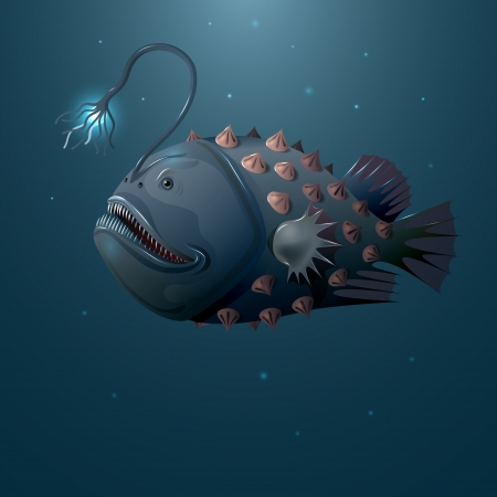 Deep water angler on dark background. Vector
