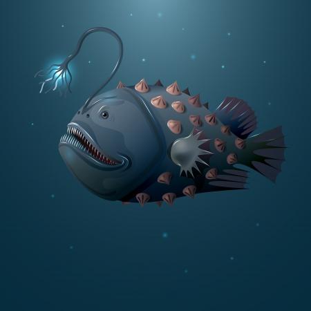 neon fish: Deep water angler on dark background.