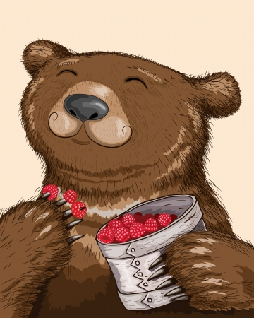 Funny bear eating raspberries from basket.