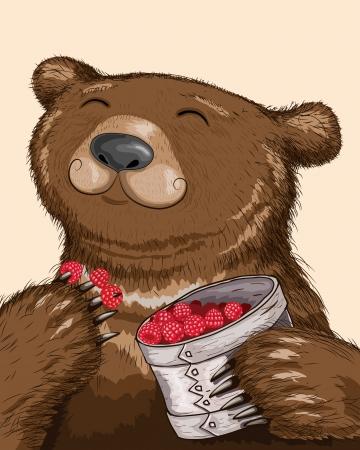 Lustiger Bär isst Himbeeren aus Korb. Standard-Bild - 24503650