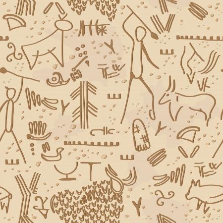 Seamless texture with cave petroglyphs  Illusztráció
