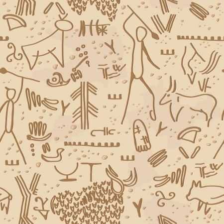 Seamless texture with cave petroglyphs  Vector