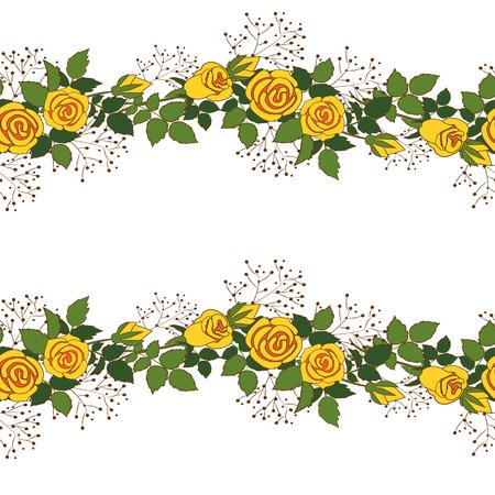 gele rozen: Naadloze textuur met krans van gele rozen op een witte achtergrond. Stock Illustratie