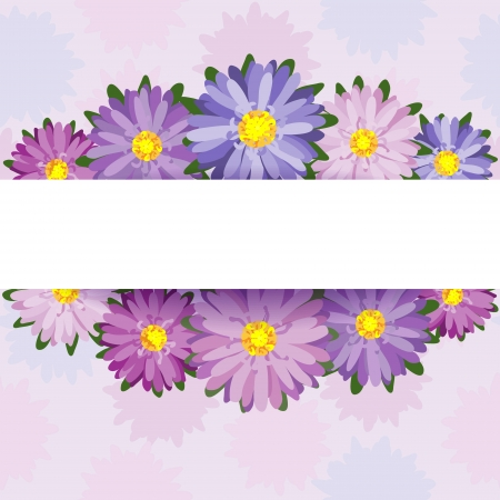 aster: Floral decoration with space for text.