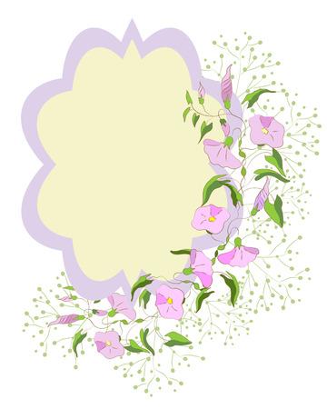 bindweed: Card decorated bindweed wreath. Illustration