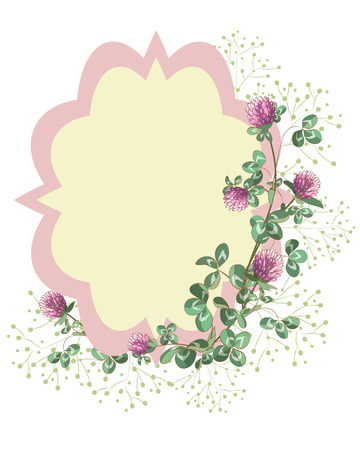 Card decorated clover wreath. Vector