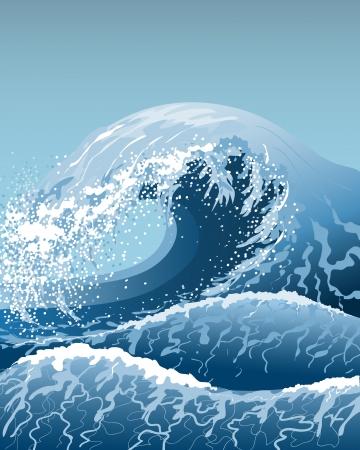 Stormachtige zee met hoge golven. Stock Illustratie
