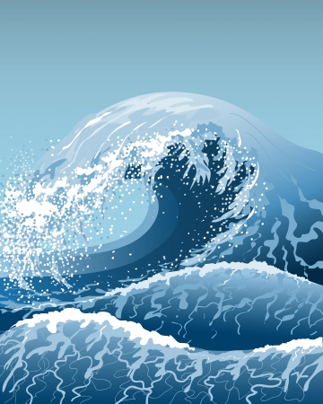 high sea: Stormy sea with high waves. Illustration