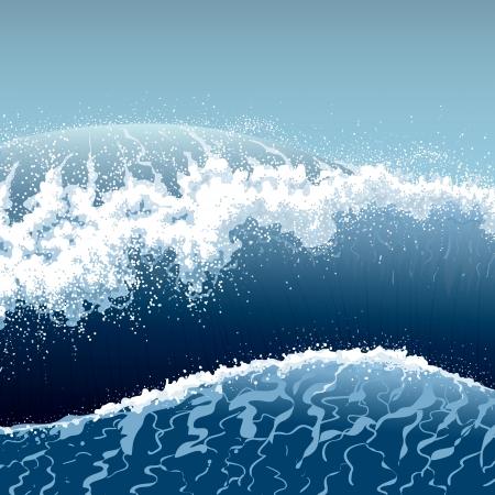 Stormachtige zee met hoge blauwe golven.