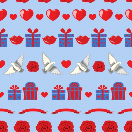 Seamless texture with red hearts, roses, pigeons, lips and gifts on blue background. Vector