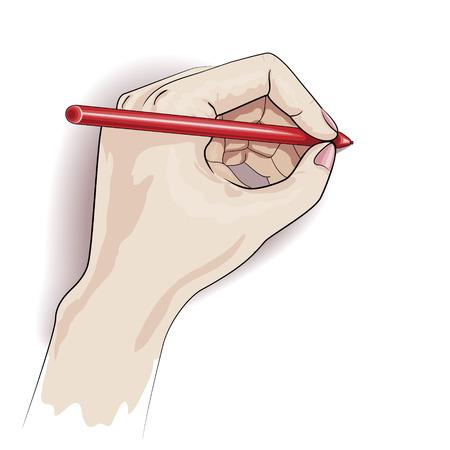 Schrijven linkerhand op wit wordt geïsoleerd.