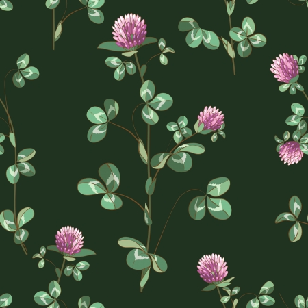 Seamless texture with meadow clover on dark green. Vector