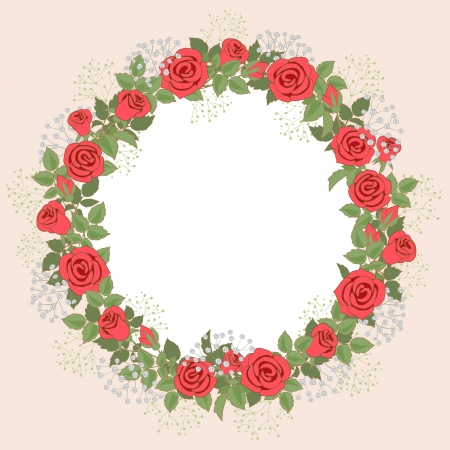 Floral wreath of red roses for wedding invitations and greeting cards. Illustration
