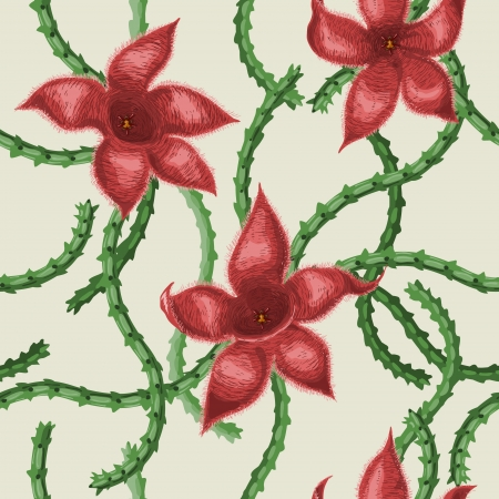Seamless texture with red stapelia flowers