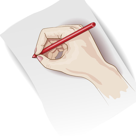 right hand: Hand holding pen on clean sheet of paper.
