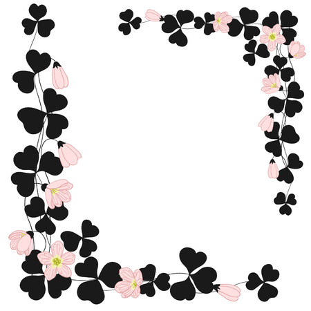 Black floral frame with pink flowers. Vector