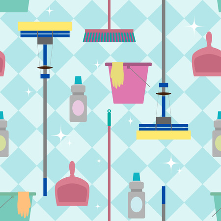 dustpan: Seamless pattern with domestic tools for cleaning.
