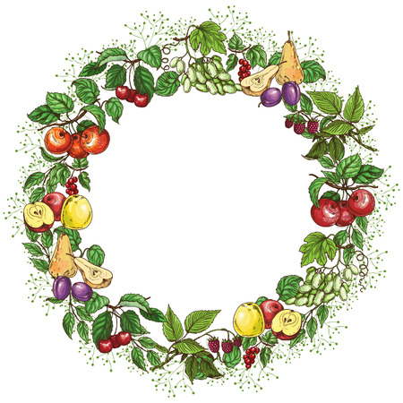 apple border: Round frame with fruits and green leaves. Illustration