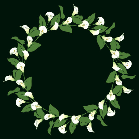 corolla: Floral wreath with bunches of calla lily on black. Illustration