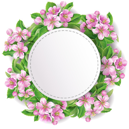 greenness: Floral wreath with space for text. Illustration