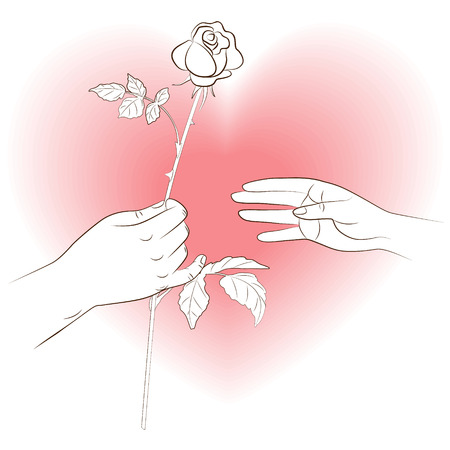 give hand: Hands with rose on the heart shaped background.