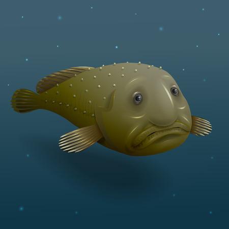 cheerless: Deep water Blob fish on dark background  Illustration