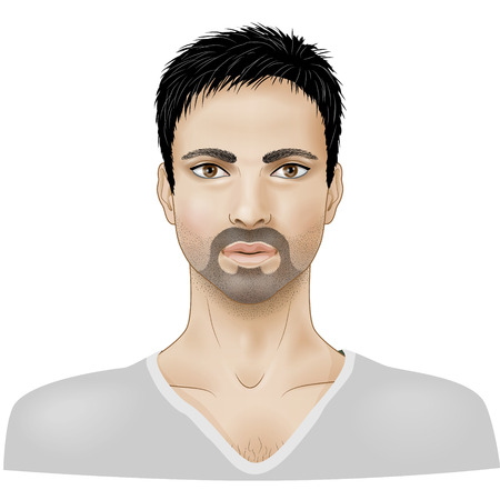 Face of young man with beard isolated on white. Illustration