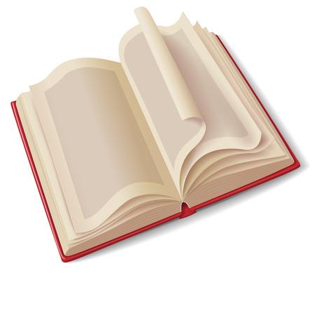 book: Otevřená kniha v červeným krytem na bílém. Ilustrace