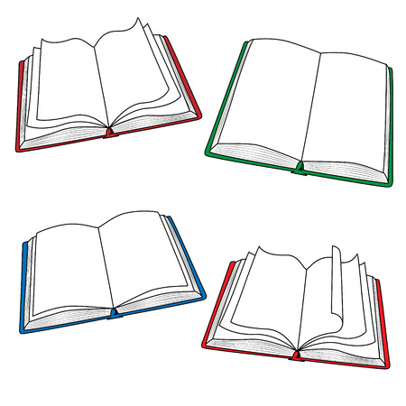 open bible: Set of colored open books. Illustration