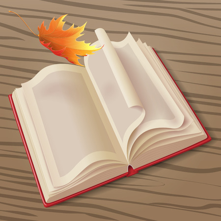 Open book in the red cover on wooden background and falling  maple leaf. Illustration