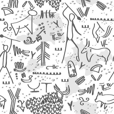 pintura rupestre: Textura sin fisuras con gráficos rock. Vectores
