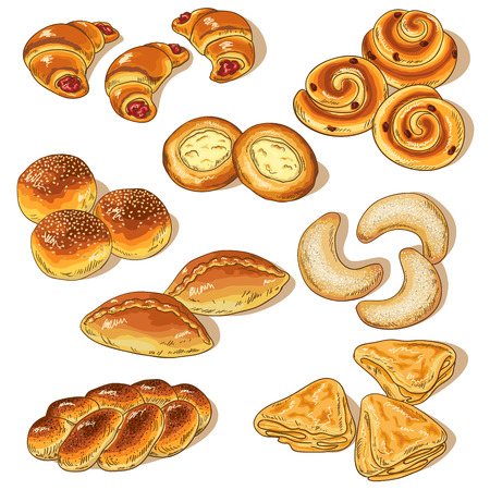 Variety of bakery isolated on white. Illustration