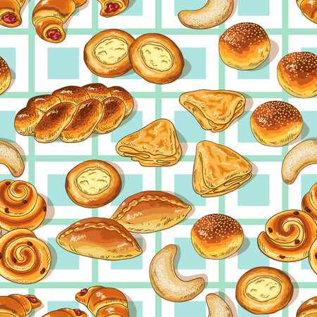 variety: Seamless pattern with variety of bakery. Illustration