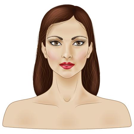 茶髪: 白で隔離される長い茶色の髪の少女の顔。